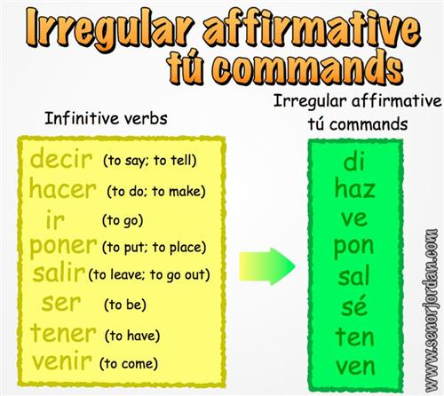 irregular affirmative tu commands