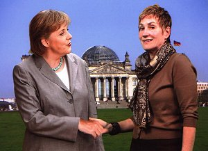Frau Rousse with German Chancellor Markel