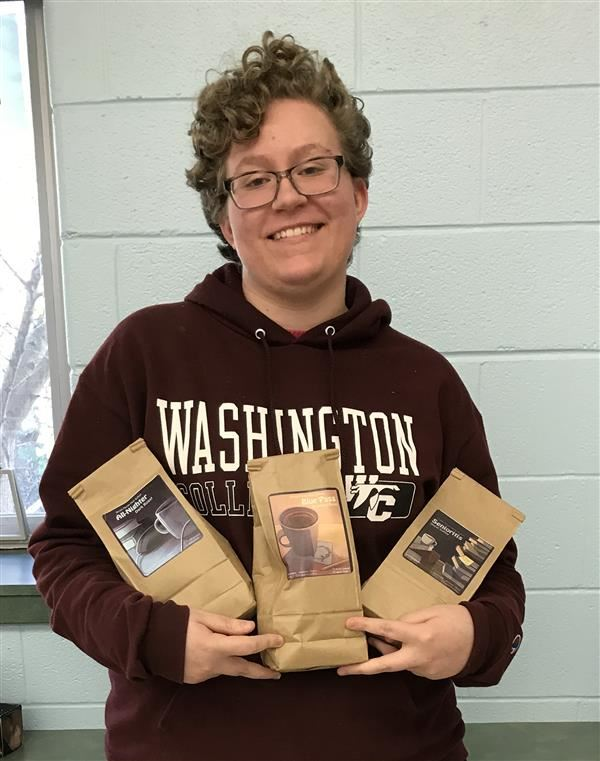 Junior Lauren St. Clair designed the coffee labels for the Class of 2021 Fundraiser