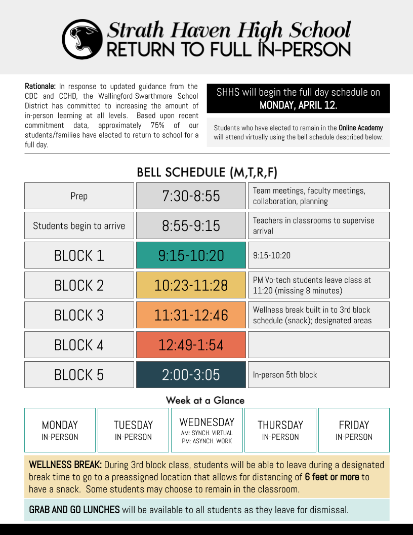 Full in-person bell schedule