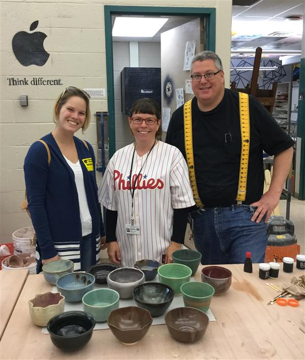 but how can we as artists help? Students in Mr. Rodgers ceramics classes donated hand made bowls to