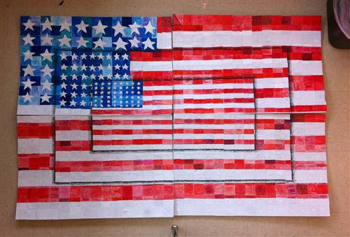 "WES version of Jasper Johns ""Three Flags"""
